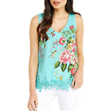 Buy Oasis Royal Worcester Collection Lace Trim Vest, Green/Multi Online at johnlewis.com