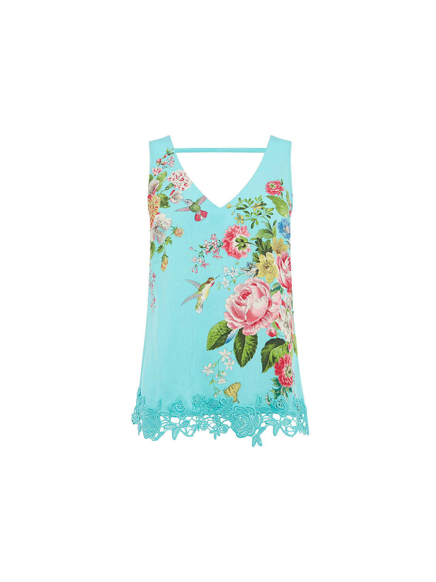 Buy Oasis Royal Worcester Collection Lace Trim Vest, Green/Multi, 6 Online at johnlewis.com