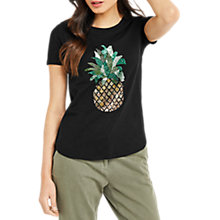 Buy Oasis Embellished Pineapple T-Shirt, Black Online at johnlewis.com