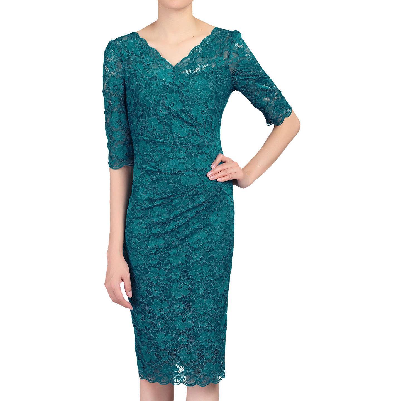 Jolie Moi V-Neck Ruched Lace Dress | Teal at John Lewis