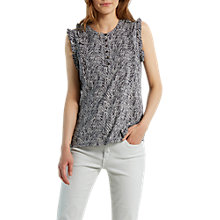 Buy White Stuff Frilly Sleeveless Shirt, Dove Grey Online at johnlewis.com