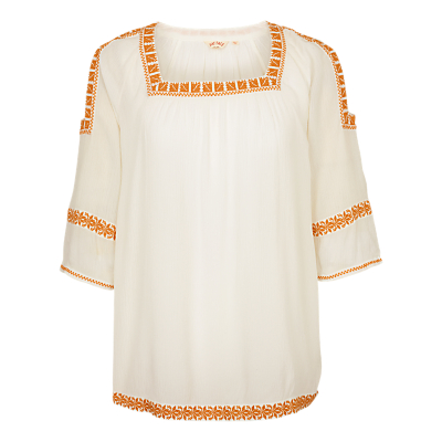 Fat Face Eleana Embroidered Cold Shoulder Popover Top