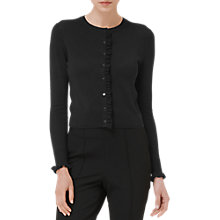 Buy L.K. Bennett Annora Frill Placket Cardigan, Black Online at johnlewis.com