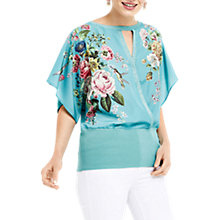 Buy Oasis Royal Worcester Collection Floral Kimono Wrap Top, Teal Green Online at johnlewis.com