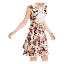 Buy Oasis Royal Worcester Collection Pleated Floral Skater Dress, Off White Online at johnlewis.com