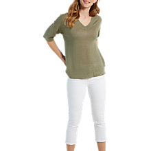 Buy White Stuff Island Linen V-Neck Knit Top, Khaki Online at johnlewis.com
