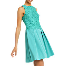 Buy Oasis Lace Bodice 2 in 1 Dress, Turquoise Online at johnlewis.com