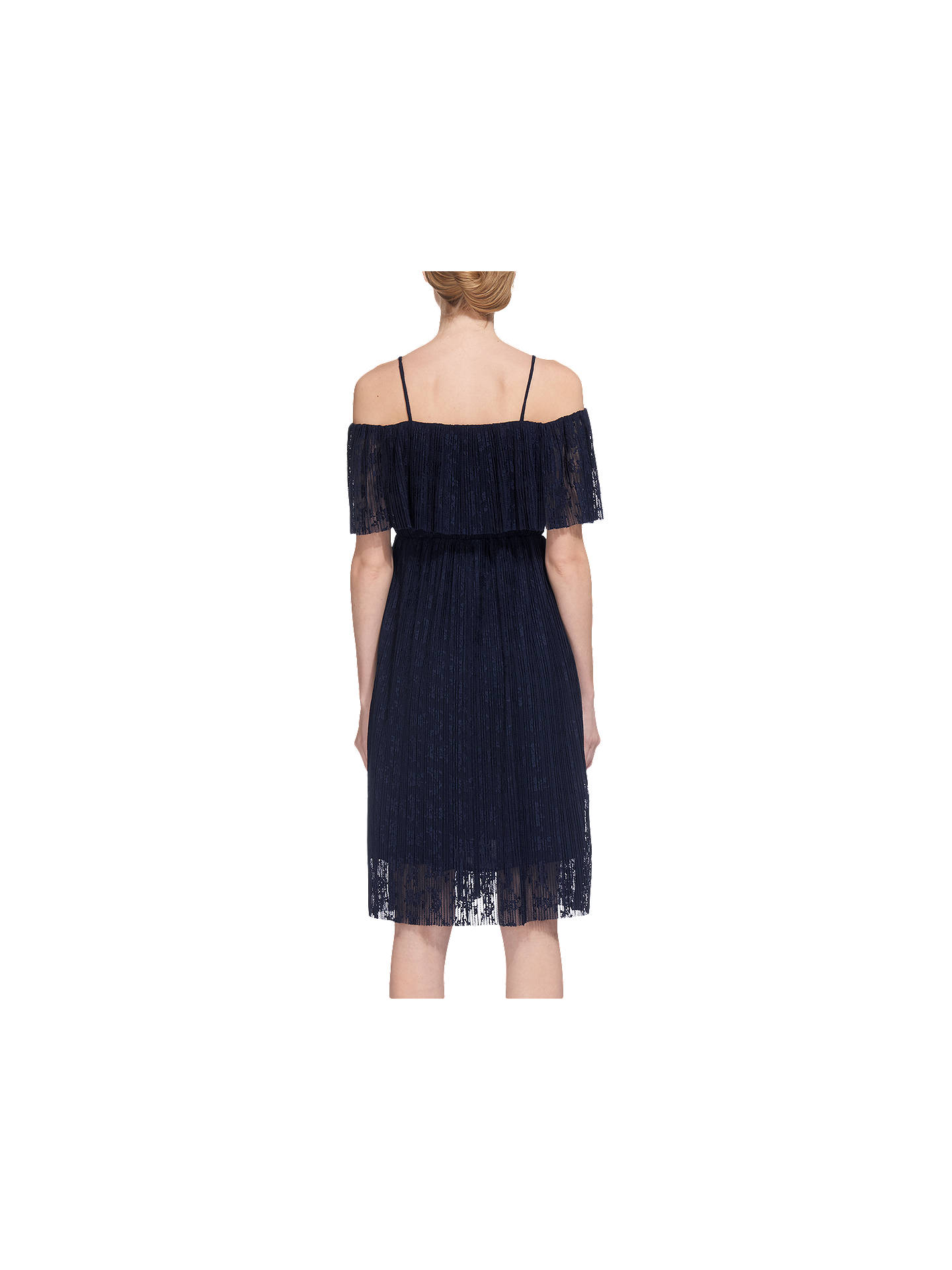 BuyWhistles Off Shoulder Pleated Dress, Navy, 6 Online at johnlewis.com
