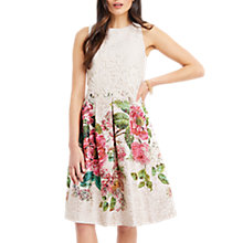 Buy Oasis Royal Worcester Collection Lace Bodice Floral Midi Dress, Natural/Multi Online at johnlewis.com