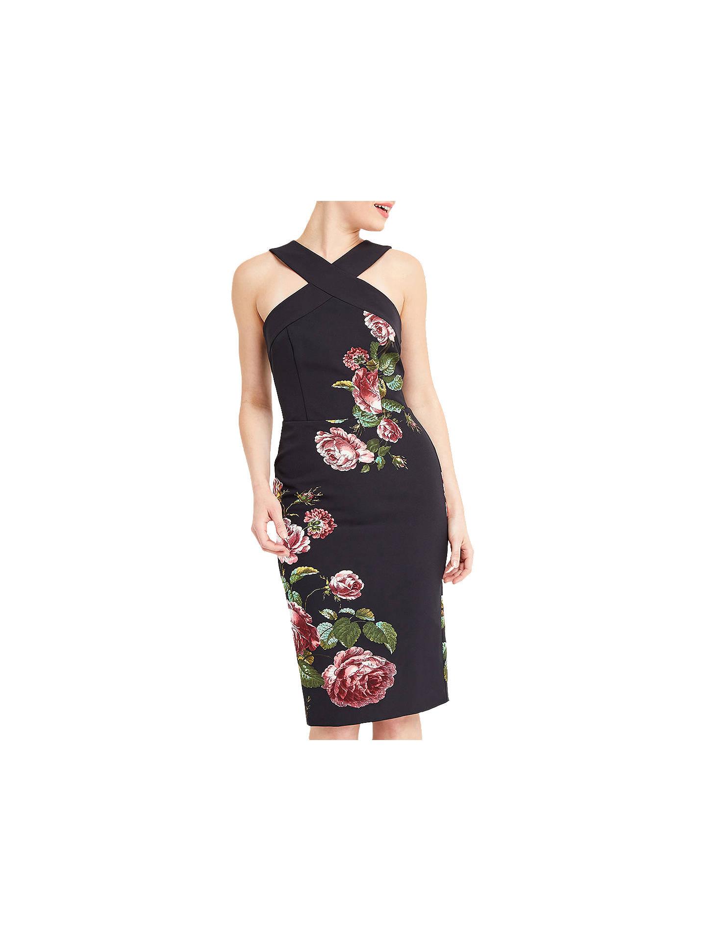 c998b867458d Buy Oasis Royal Worcester Collection Floral Pencil Dress, Black/Multi, 6  Online at ...