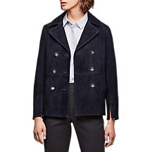 Buy Gerard Darel Vernier Suede Leather Jacket, Navy Blue Online at johnlewis.com