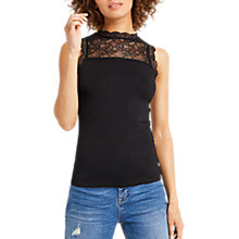 Buy Oasis Lace Insert Fitted Top, Black Online at johnlewis.com