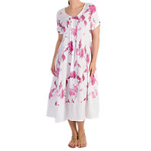 Buy Chesca Pintuck Detail Floral Linen Dress, Aubergine Online at johnlewis.com