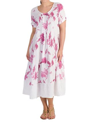 Chesca Pintuck Detail Floral Linen Dress, Raspberry