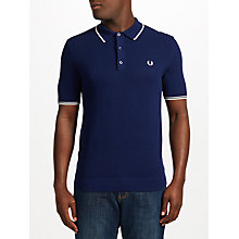 Buy Fred Perry Tipped Knit Polo Shirt, Rich Navy Online at johnlewis.com