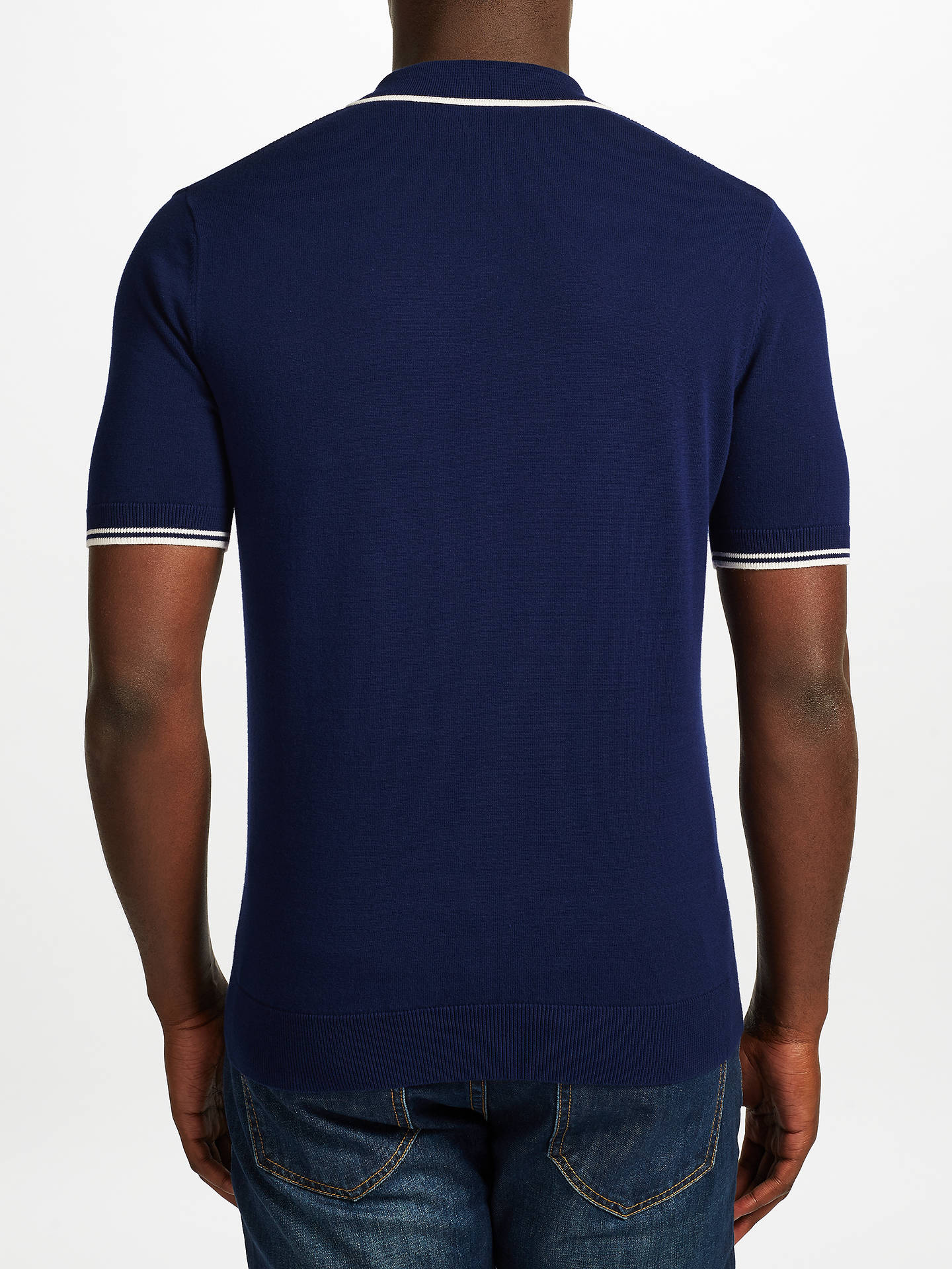 a195deed435a Buy Fred Perry Tipped Knit Polo Shirt, Rich Navy, S Online at johnlewis.