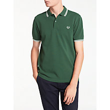Buy Fred Perry Twin Tipped Polo Shirt, Tartan Green Online at johnlewis.com