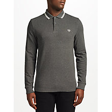 Buy Fred Perry Long Sleeve Twin Tipped Polo Top, Graphite Marl Online at johnlewis.com