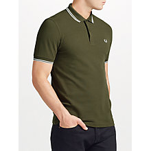Buy Fred Perry Twin Tipped Polo Top, Iris Leaf Online at johnlewis.com