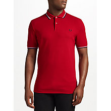 Buy Fred Perry Twin Tipped Polo Shirt, Deep Red/Navy Online at johnlewis.com