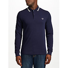 Buy Fred Perry Long Sleeve Twin Tipped Polo Shirt, Blue Granite Online at johnlewis.com