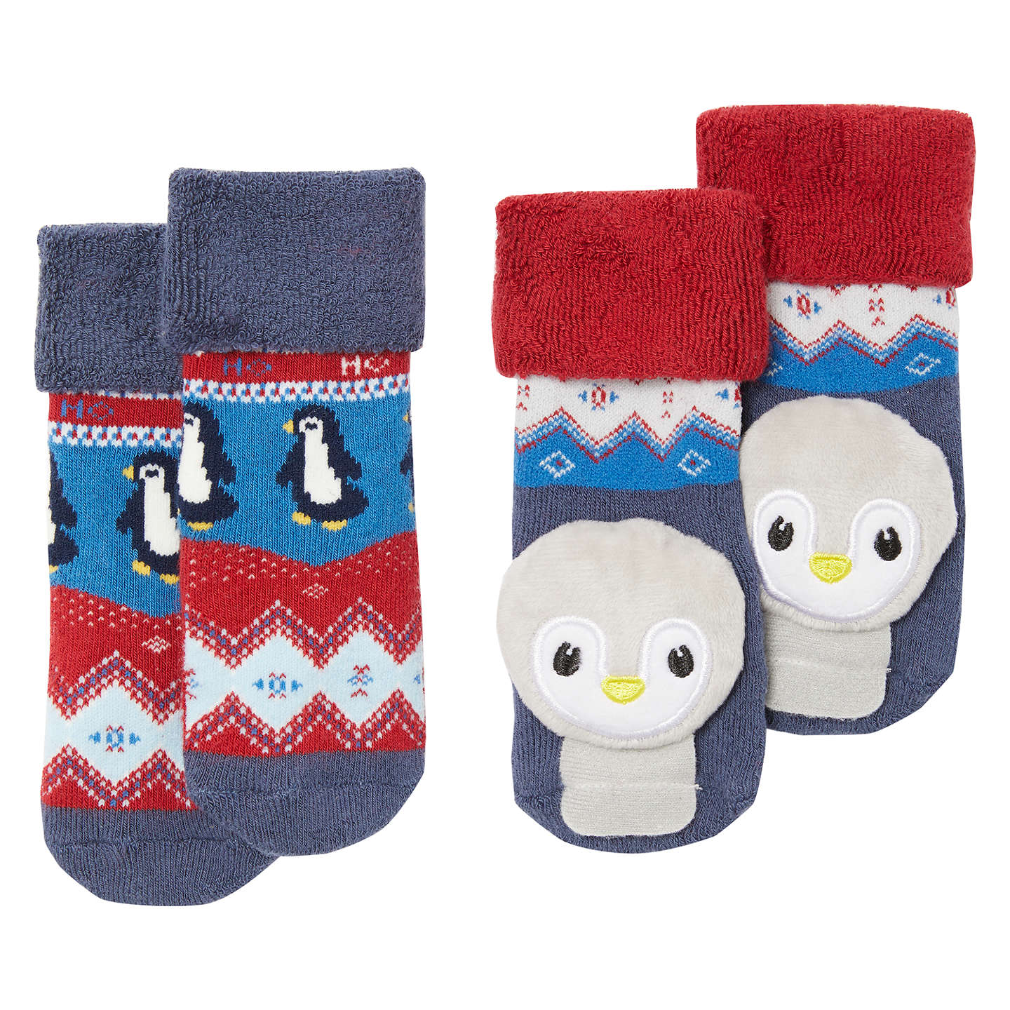 John Lewis Baby Penguin Rattle Socks Pack Of 2 Multi At John Lewis