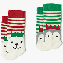 Buy John Lewis Baby Christmas Character Socks, Pack of 2, Multi Online at johnlewis.com