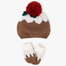 Buy John Lewis Baby Christmas Pudding Bobble Hat and Mittens Set, Brown Online at johnlewis.com