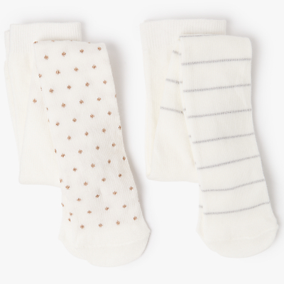 Product photo of John lewis baby cotton rich sparkle tights pack of 2 cream