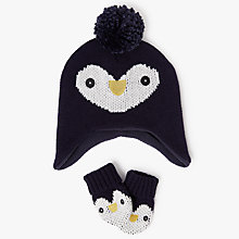 Buy John Lewis Baby Penguin Bobble Hat and Mittens Set, Multi Online at johnlewis.com