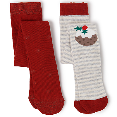 Product photo of John lewis baby cotton rich christmas pudding tights pack of 2 multi