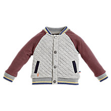 Buy Angel & Rocket Baby Travis Baseball Jacket, Grey/Burgundy Online at johnlewis.com