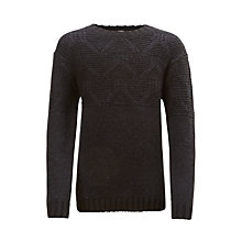 Buy John Lewis Boys' Crew Neck Knit Jumper, Black Online at johnlewis.com