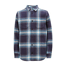 Buy John Lewis Boys' Ombre Check Shirt, Navy Online at johnlewis.com