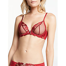 Buy AND/OR Valentina Embroidered Plunge Bra, Rio Red Online at johnlewis.com