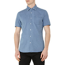 Buy Reiss Kitt Short Sleeve Denim Shirt, Light Blue Online at johnlewis.com