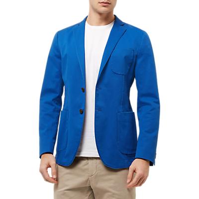 Jaeger Cotton Unstructured Blazer, Blue