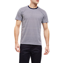Buy Jaeger Overdyed Stripe Cotton T-Shirt, Blue/White Online at johnlewis.com