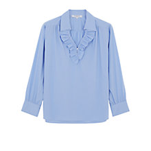 Buy Gerard Darel Stripe Ruffle Blouse, Blue Online at johnlewis.com