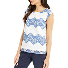 Buy Oasis Stripe Lace T-Shirt, White/Blue Online at johnlewis.com