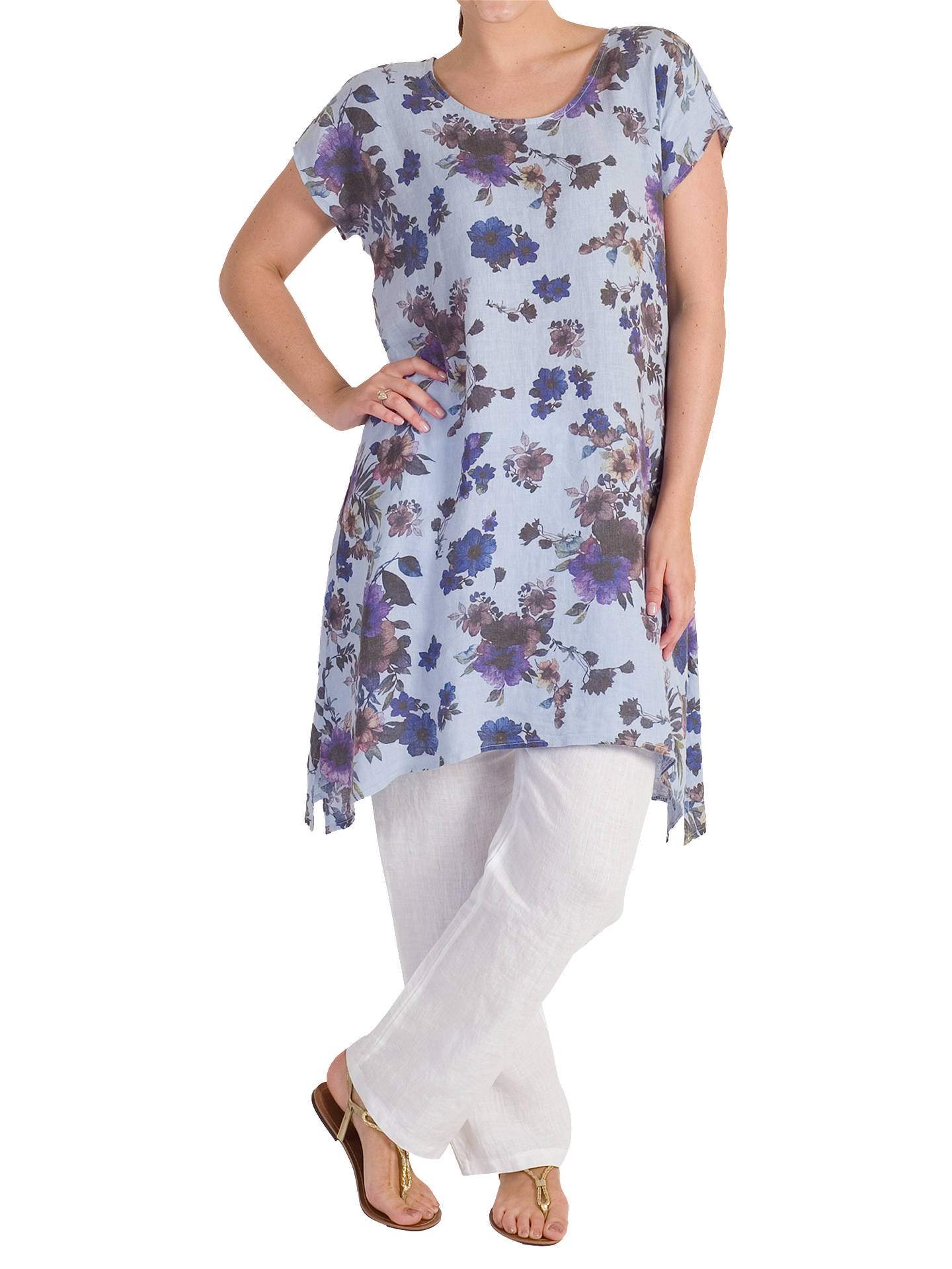 Buy Chesca Floral Print Tunic, Blue/Purple, 12-14 Online at johnlewis.com