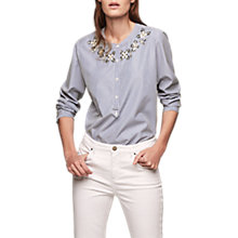 Buy Gerard Darel Embellished Stripe Blouse, Blue Online at johnlewis.com