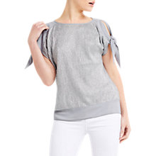 Buy Oasis Crinkle Tie Shoulder T-Shirt, Metallic Pewter Online at johnlewis.com