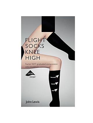 John Lewis & Partners Knee High Flight Socks, Black