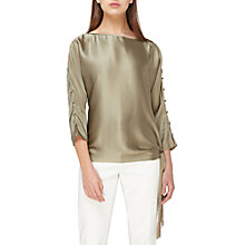 Buy Jacques Vert Tie Side Fringed Top, Dark Green Online at johnlewis.com