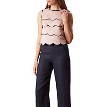 Buy Hobbs Juliet Scallop Top, Soft Pink/Navy Online at johnlewis.com