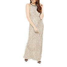 Buy Miss Selfridge Linear Bead Maxi Dress, Nude Online at johnlewis.com