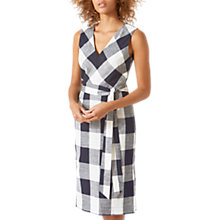 Buy Jigsaw Feather Gingham Summer Dress, Navy Online at johnlewis.com
