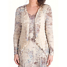 Buy Chesca Lace Trim Printed Crush Pleat Shrug, Cream Online at johnlewis.com