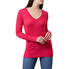 Buy Hobbs Cherry Merino Wool V-Neck Jumper, Bright Pink Online at johnlewis.com